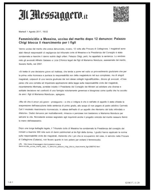 Il Messaggero- Palazzo Chigi blocca risarcimento figli Marianna Manduca
